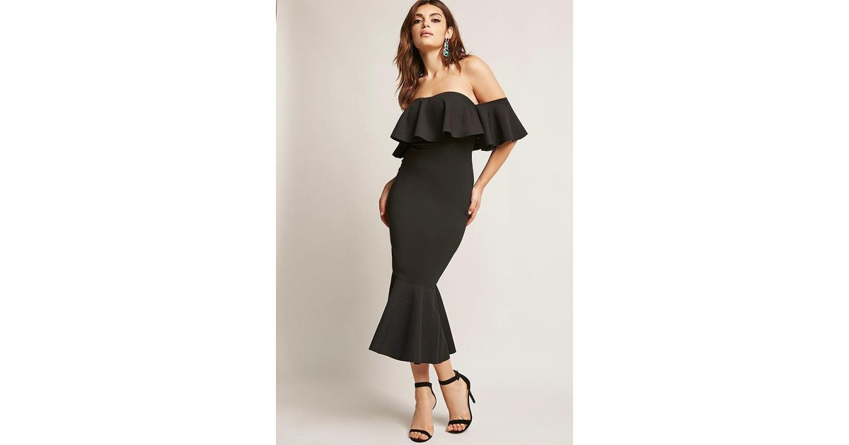 0ae2902a98a831 Lyst - Forever 21 Off-the-shoulder Flounce Mermaid Dress in Black