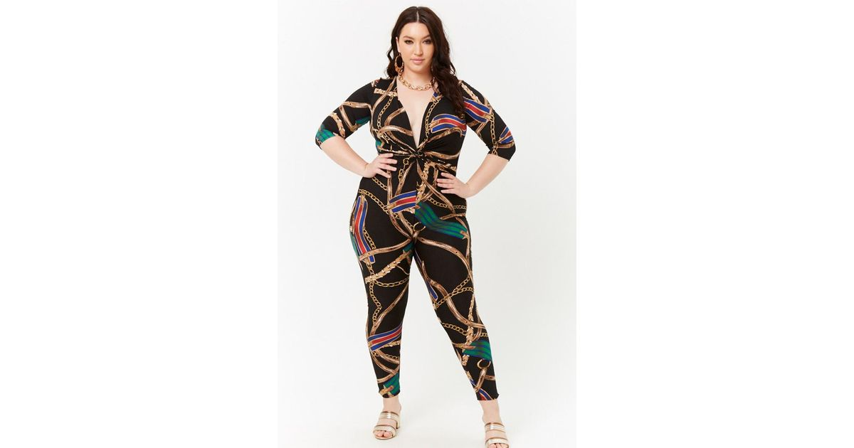 571985e3f47db Forever 21 Women s Plus Size Chain Print Twist-front Jumpsuit in Black -  Lyst
