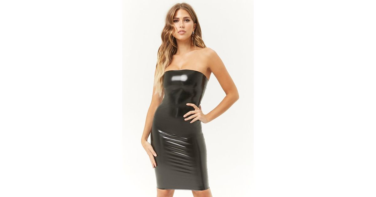 ab0182b8e72 Lyst - Forever 21 Kikiriki Faux Patent Leather Tube Dress in Black