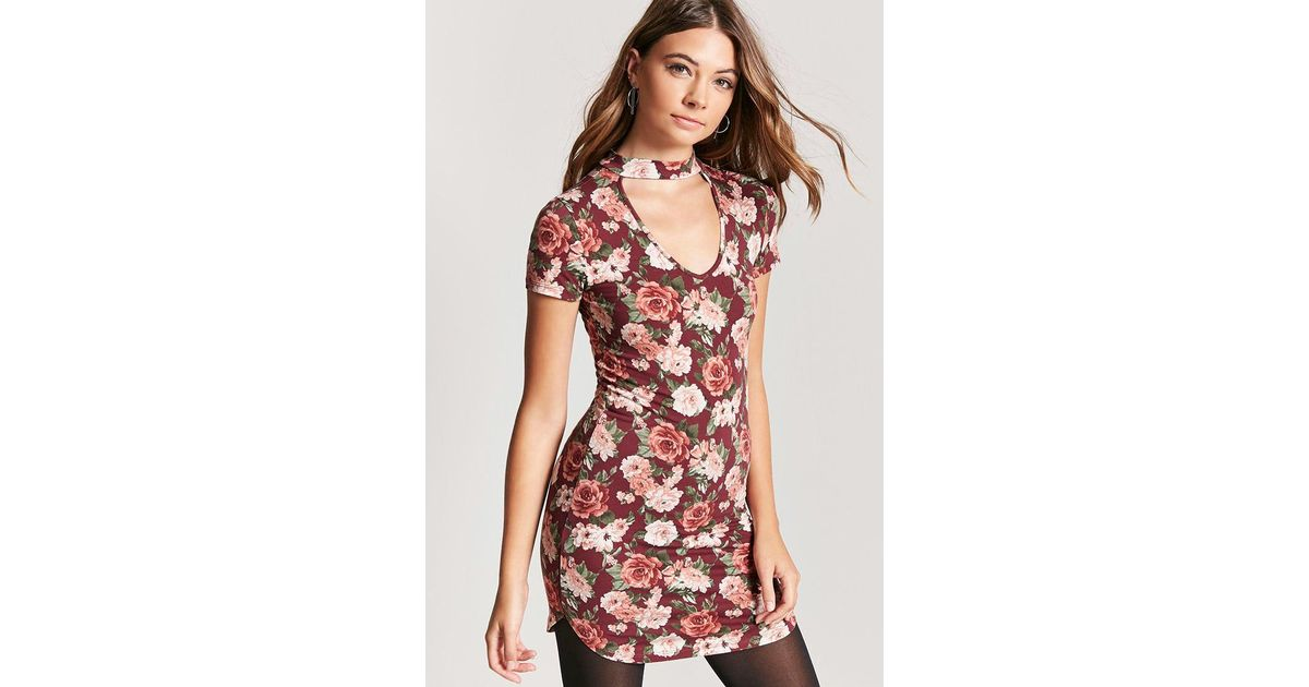 beb63e81df Forever 21 Floral V-cutout T-shirt Dress - Lyst