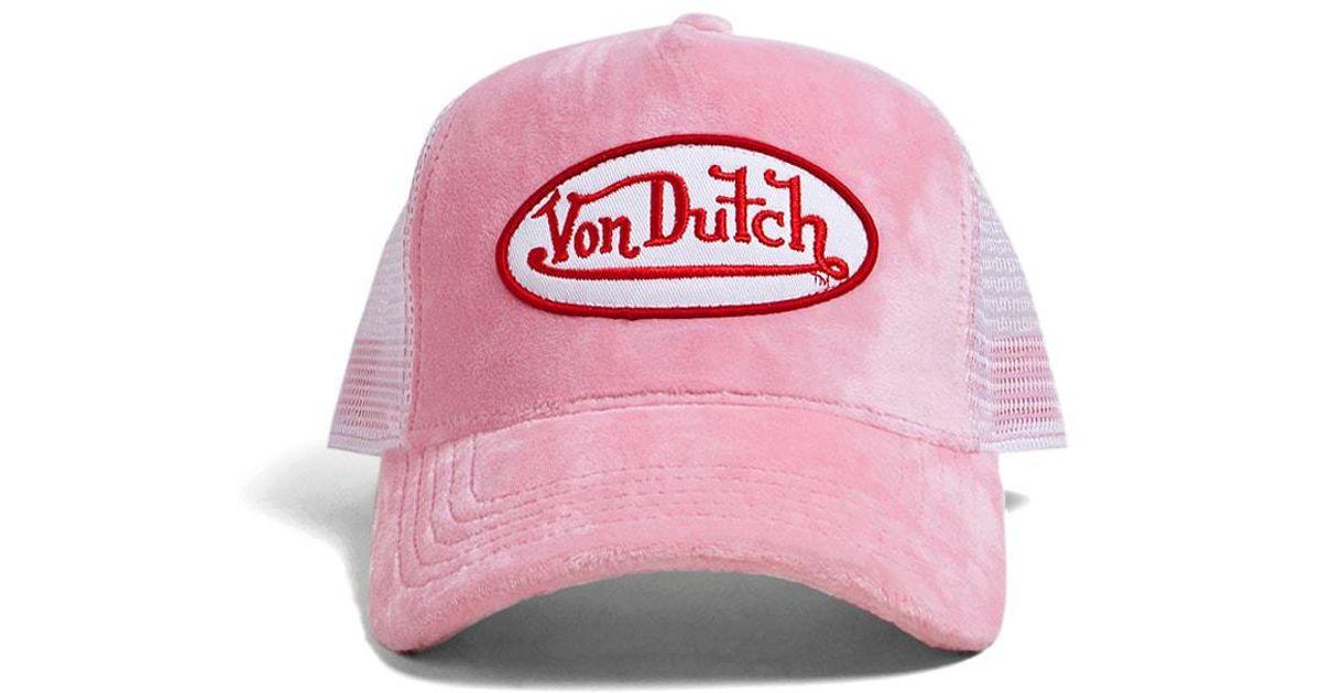 Lyst - Forever 21 Von Dutch Velvet Trucker Hat in Pink 515c3f00b0b