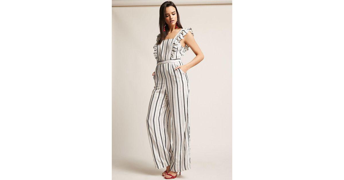 4fbb1657f Forever 21 Stripe Ruffle-trim Jumpsuit in White - Lyst
