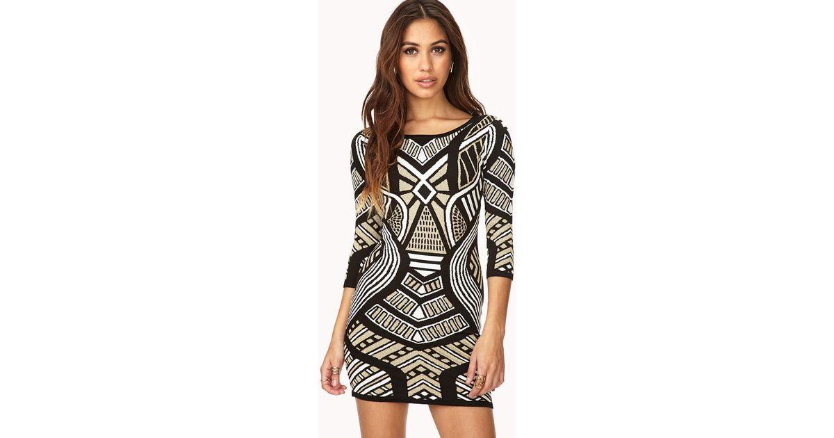 81f4bd6d985 Lyst - Forever 21 Glam Metallic Sweater Dress in Black