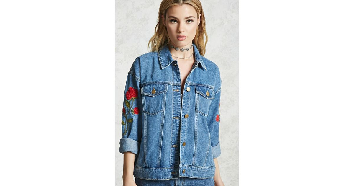 Lyst Forever 21 Rose Embroidered Denim Jacket In Blue