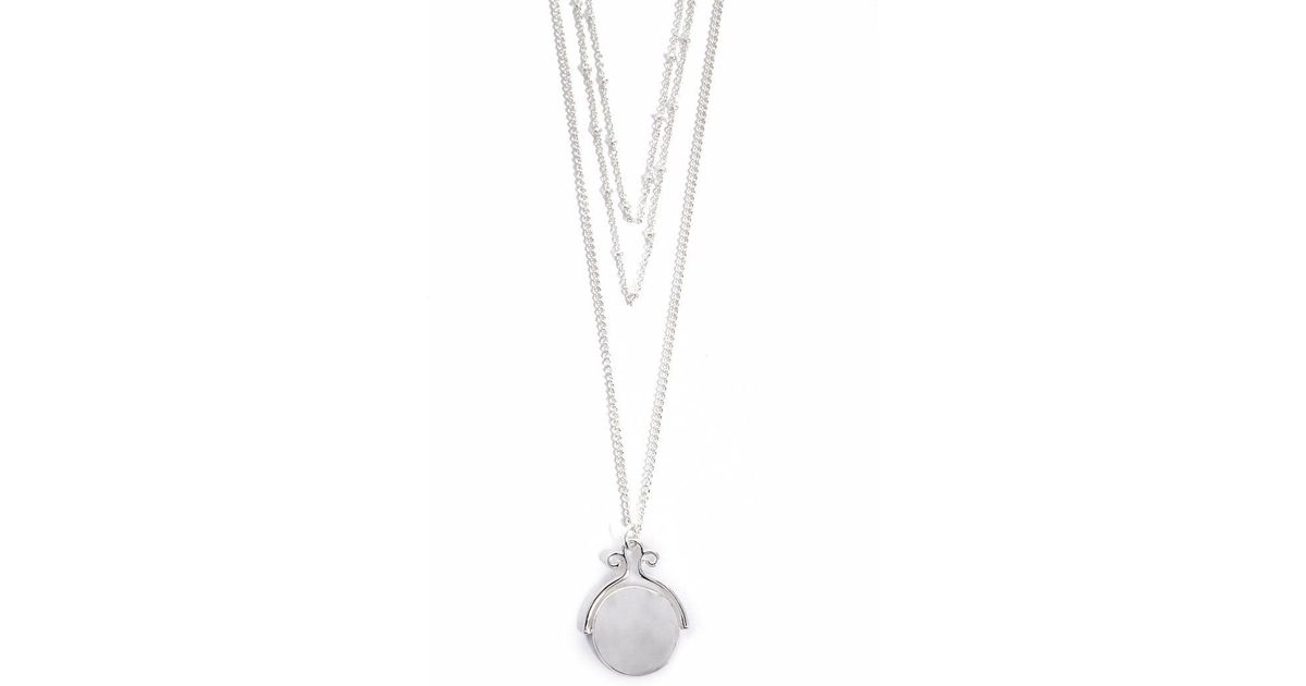 254824577f4dd1 Lyst - Forever 21 Layered Hammered Disc Pendant Chain Necklace in Metallic