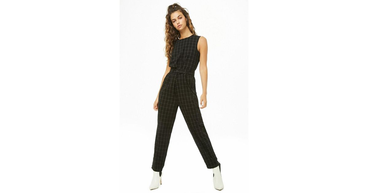 586b5716a14 Forever 21 Vero Moda Grid Print Jumpsuit in Black - Lyst
