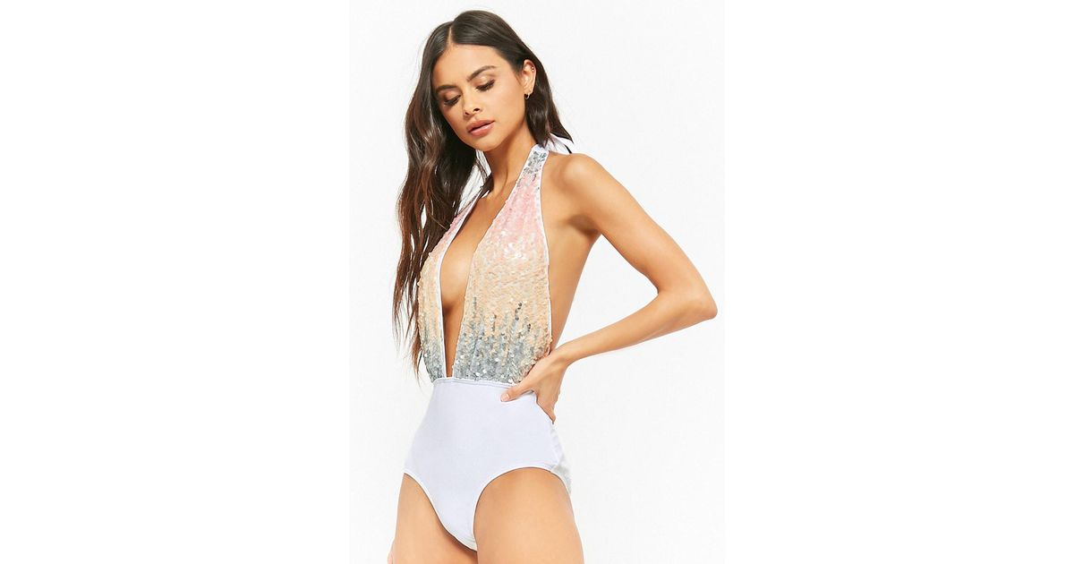 d6cb7d1573 Forever 21 South Beach London Plunging Sequin One-piece Swimsuit in Pink -  Lyst