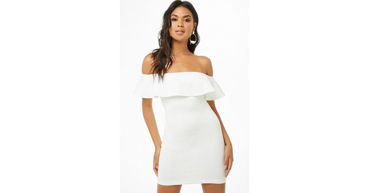 1fcd97e8849e Lyst - Forever 21 Off-the-shoulder Flounce Dress in White