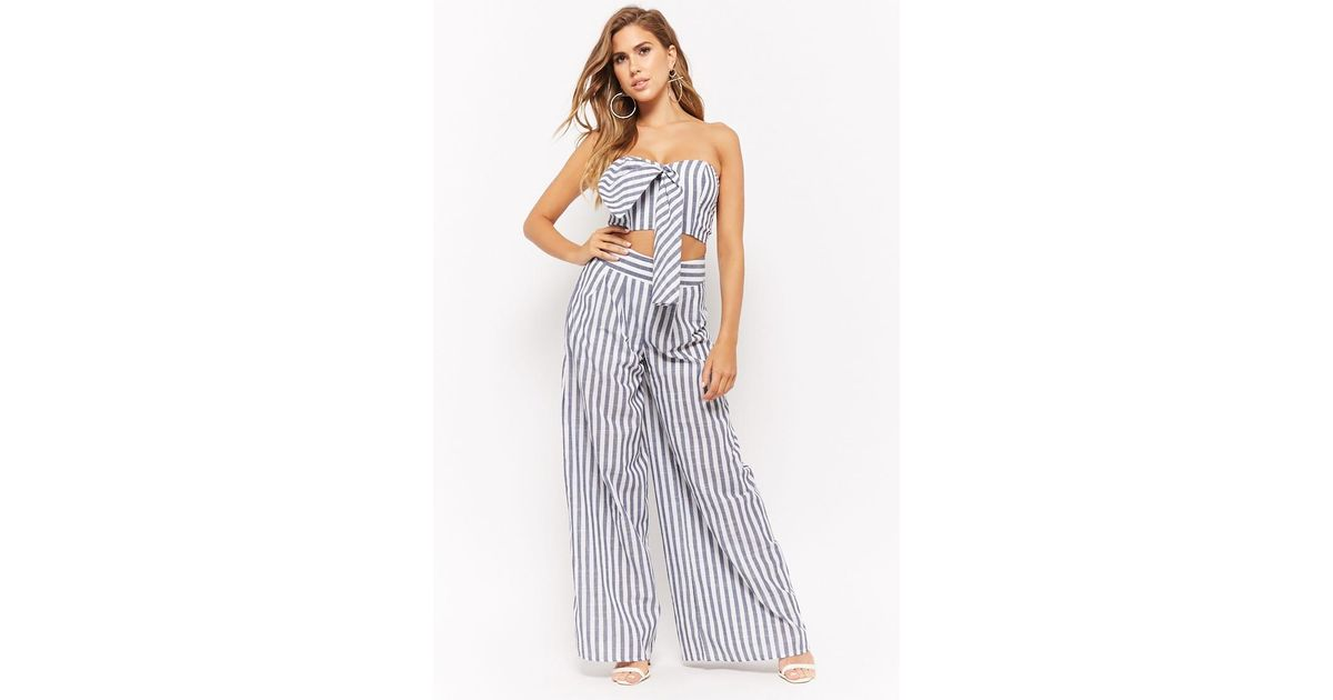 e32191d1fb Lyst - Forever 21 Striped Tie-front Crop Tube Top   Palazzo Pants Set in  Blue