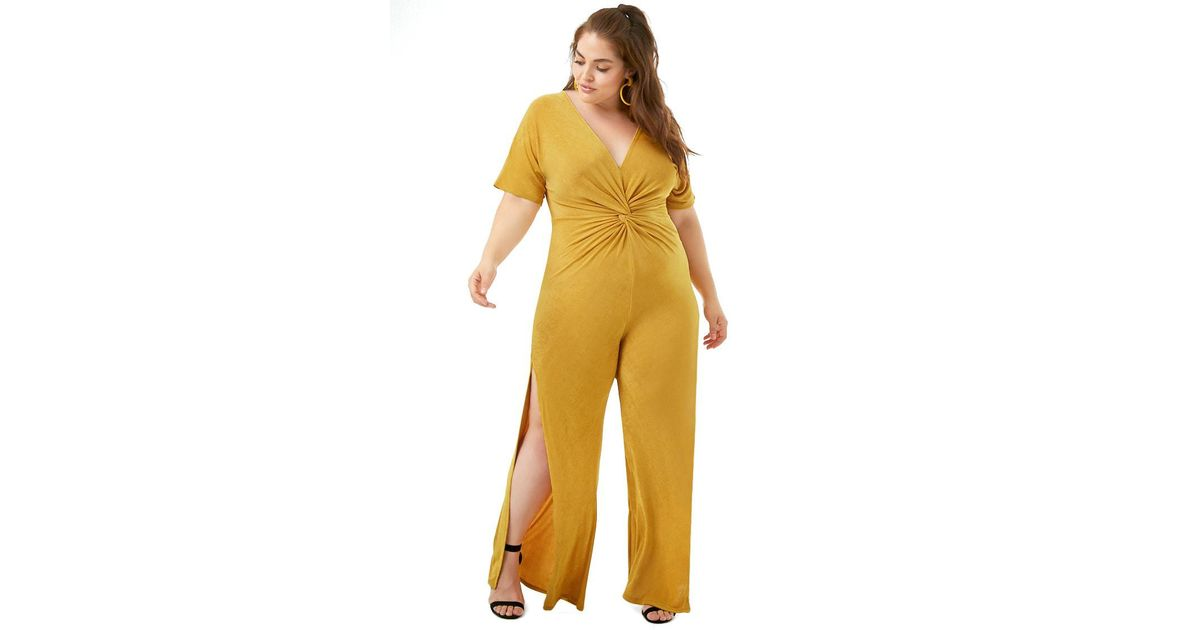 6083d81f4d2 Forever 21 Women s Plus Size Sheeny Twist-front Jumpsuit in Yellow - Lyst