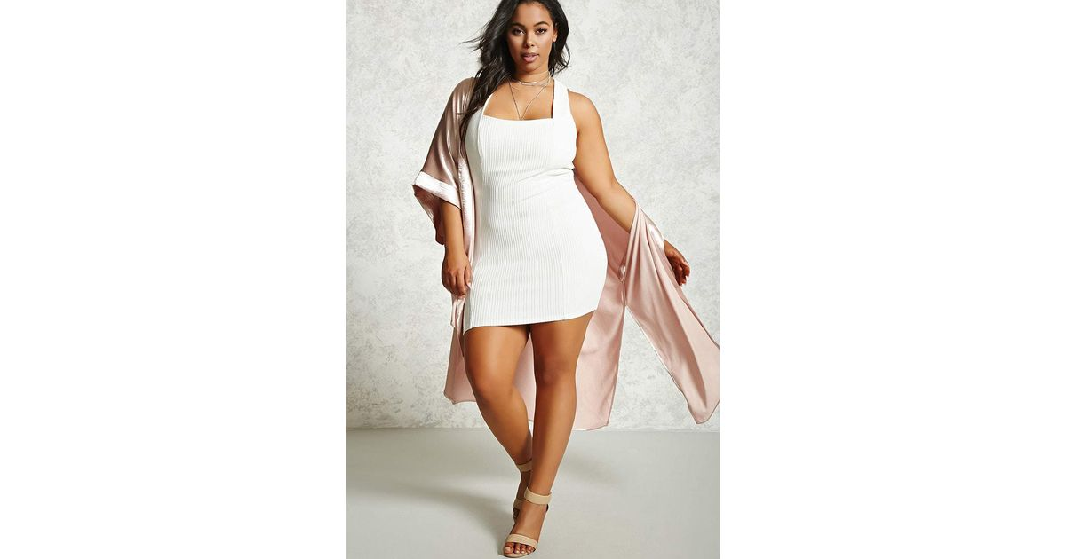 Lyst Forever 21 Plus Size Ribbed Bodycon Dress In White