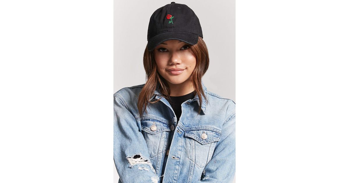 cf11253953d11 Lyst - Forever 21 Embroidered Rose Dad Cap in Black