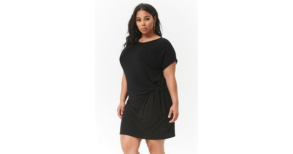 9ed76674292 Forever 21 Plus Size Slub Knit Self-tie T-shirt Dress in Black - Lyst