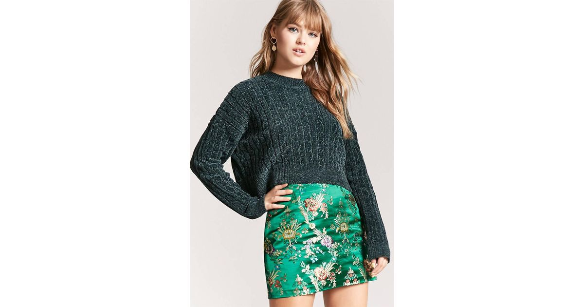 a18de9ca36 Forever 21 Floral Embroidered Satin Skirt in Green - Lyst