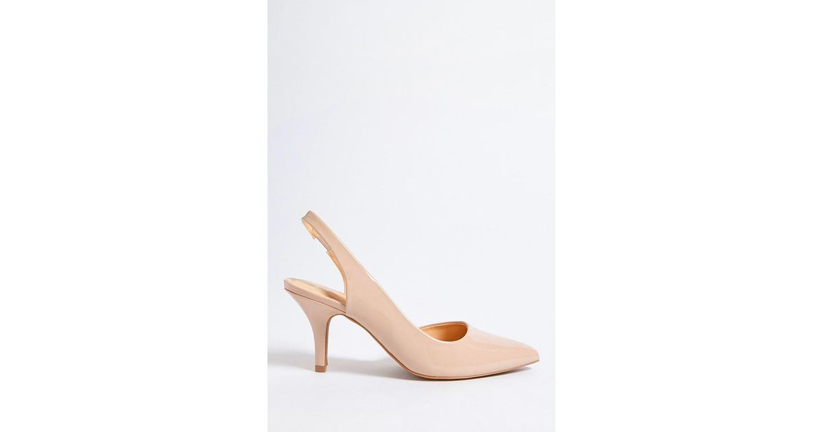 47d3651a18b Lyst - Forever 21 Qupid Faux Patent Leather Slingback Pumps in Natural
