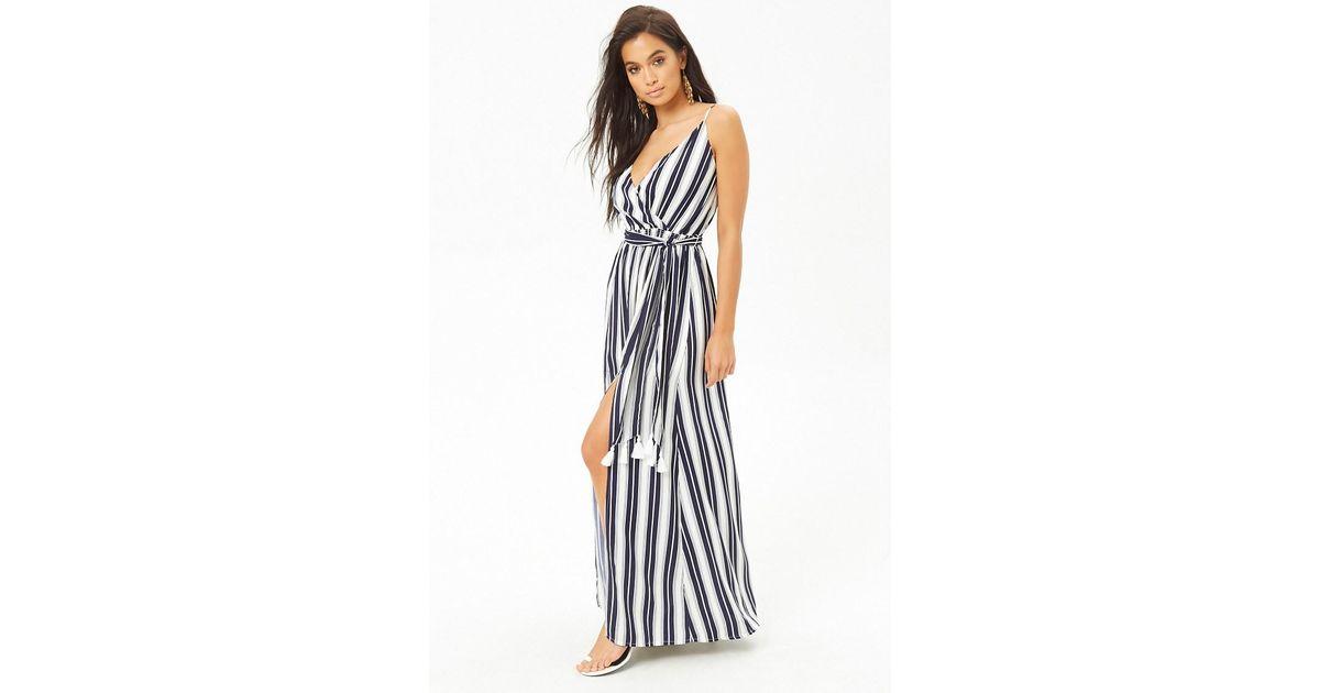 d25e39493a Lyst - Forever 21 Striped Surplice M-slit Cami Maxi Dress in Blue