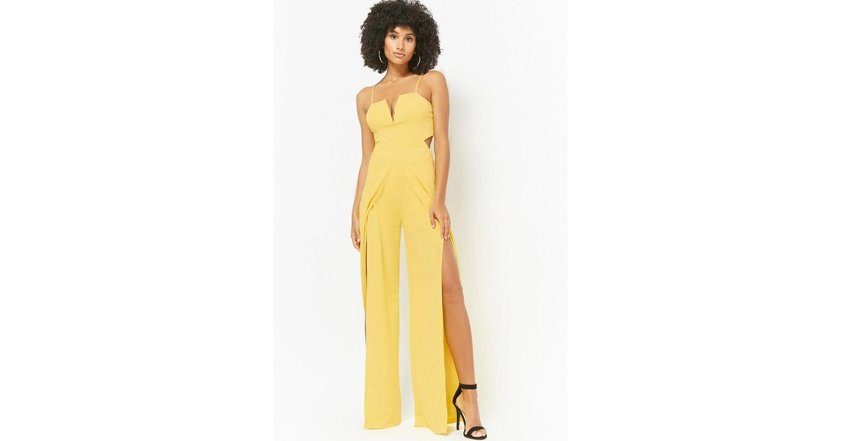 Forever 21 Wide Leg Cami Jumpsuit In Yellow Lyst