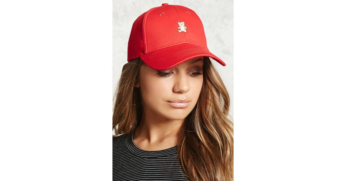 7e5ecac5ffe Lyst - Forever 21 Embroidered Teddy Bear Dad Cap in Red