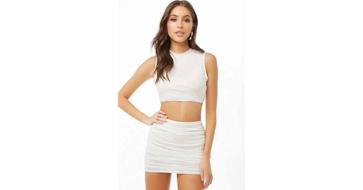 e694fe8be41625 Forever 21 Mesh Crop Top & Mini Skirt Set , White in White - Lyst