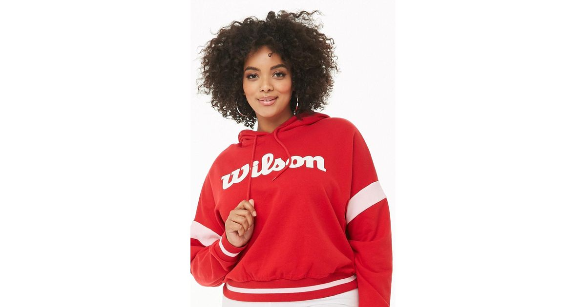 fa17bb3f7fa Forever 21 Women s Plus Size Wilson French Terry Hoodie in Red - Lyst