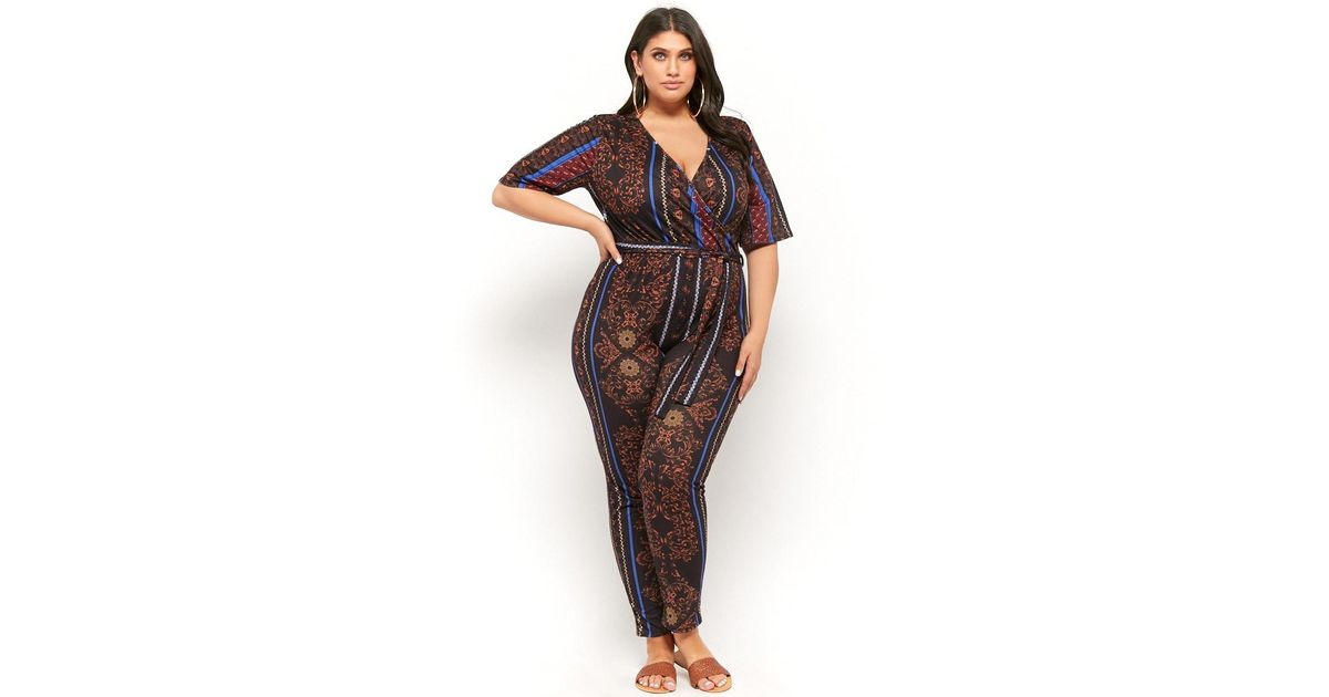 e1a084d2c7 Forever 21 Plus Size Pink Clove Baroque Surplice Jumpsuit in Black - Lyst