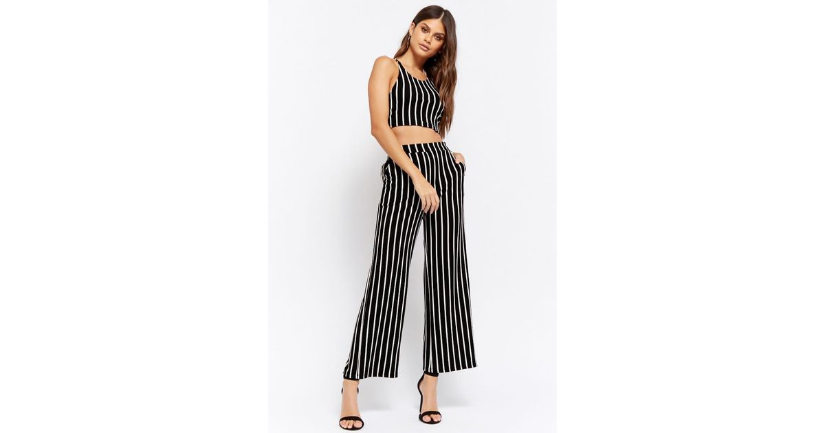 2f82b0e987d Lyst - Forever 21 Striped Crop Top   Wide-leg Pants Set in Black