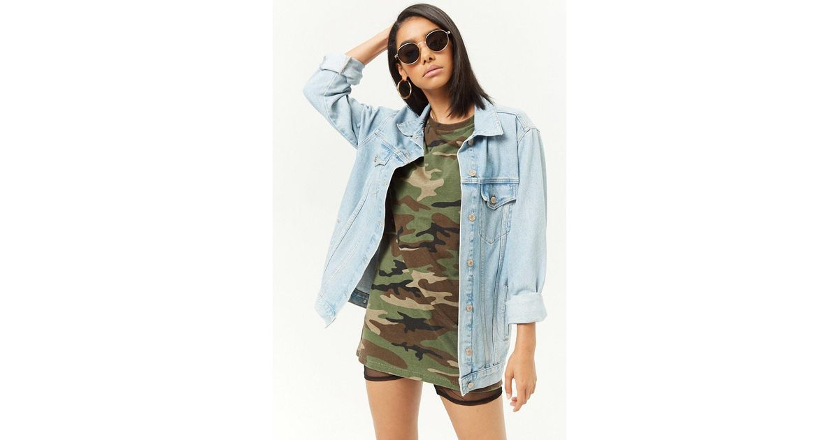 dba94210afb4d Forever 21 Camo Print T-shirt Dress in Green - Lyst
