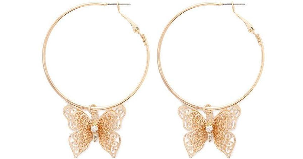 d4b2b5ed0 Forever 21 Butterfly Hoop Earrings in Metallic - Lyst