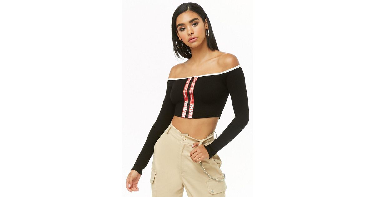 dd5bcf08ad Lyst - Forever 21 Zippered Off-the-shoulder Crop Top in Black