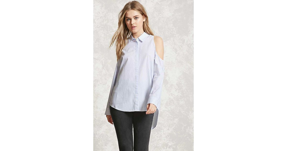 9983d7afd3b Forever 21 Pinstripe Open-shoulder Top in White - Lyst