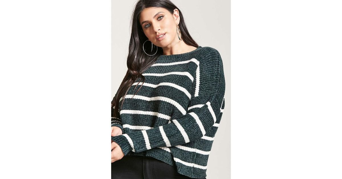 1634c12178a4 Forever 21 Plus Size Striped Chenille Sweater in Green - Lyst