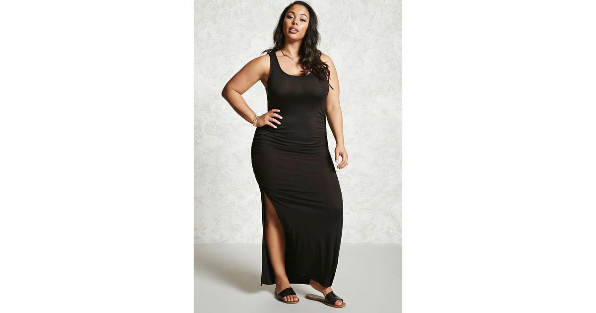 Forever 21 Plus Size Ruched Maxi Dress in Black - Lyst