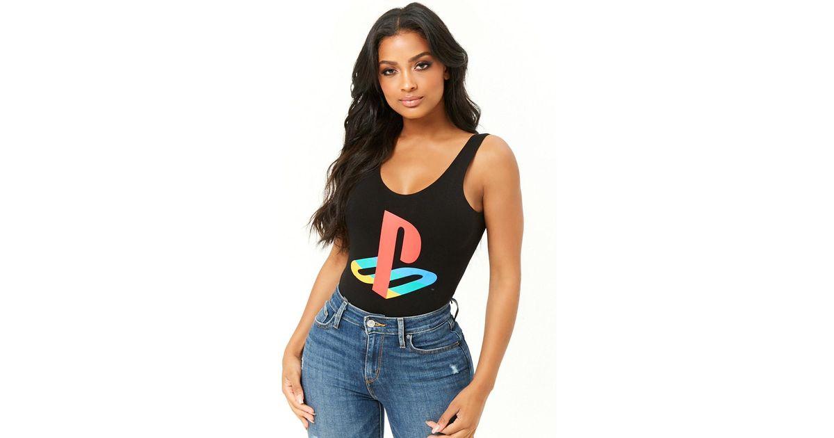 8362241b16da Lyst - Forever 21 Playstation Graphic Bodysuit in Black
