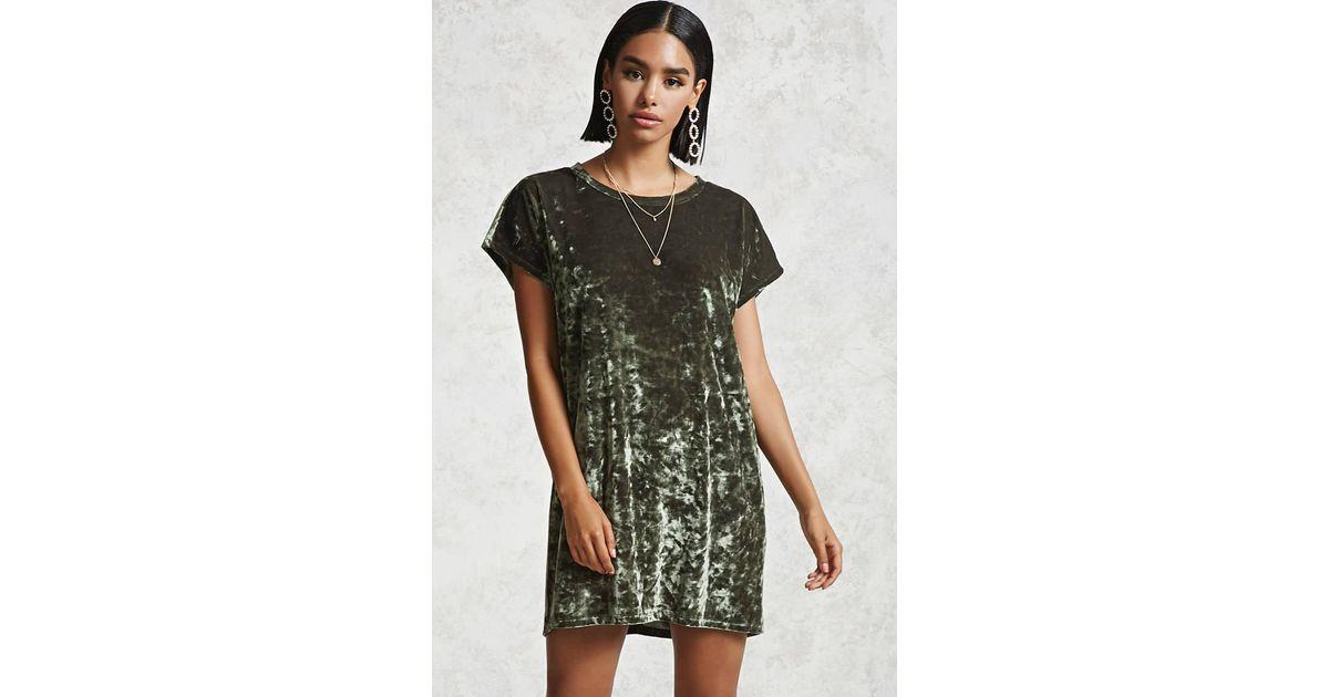 3e85ba0964 Forever 21 Crushed Velvet T-shirt Dress in Green - Lyst