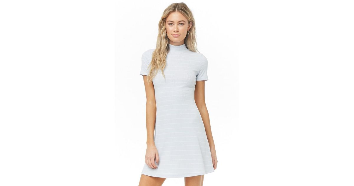 cdbbe5cad4 Forever 21 Ribbed Mock Neck Dress in White - Lyst