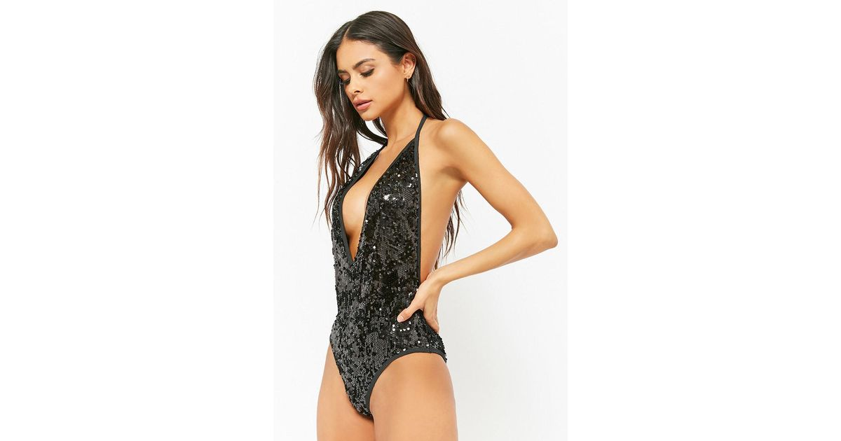 6fe5e5a7b8 Forever 21 South Beach London Sequin One-piece Swimsuit in Black - Lyst