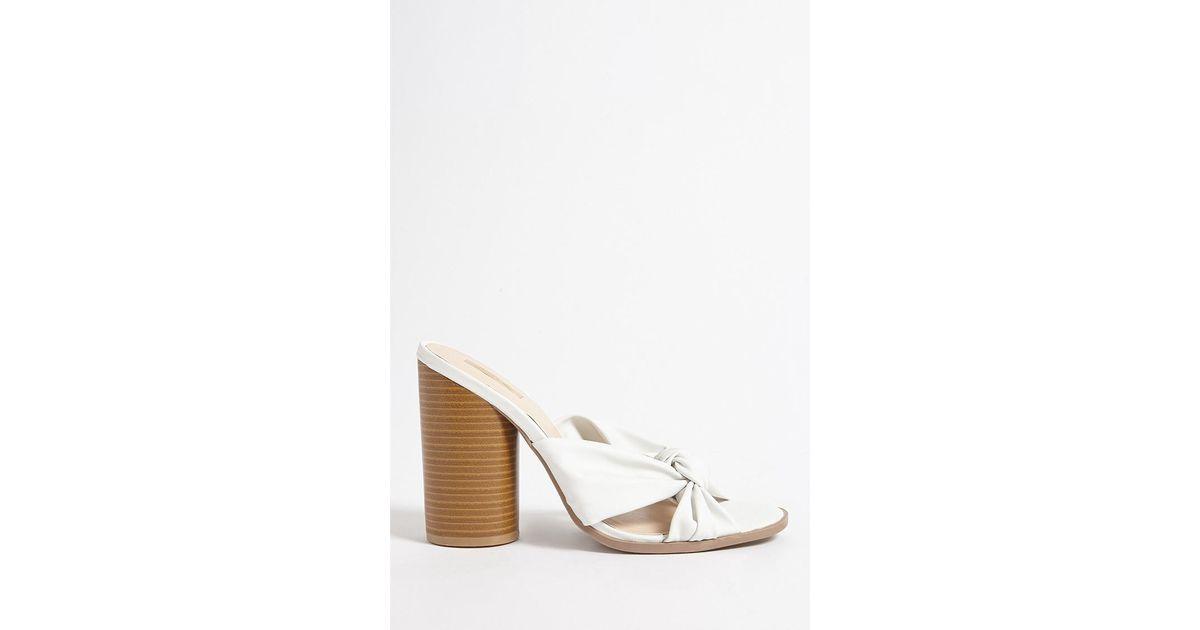e8c43eee079 Lyst - Forever 21 Qupid Metallic Twist-front Heels in White