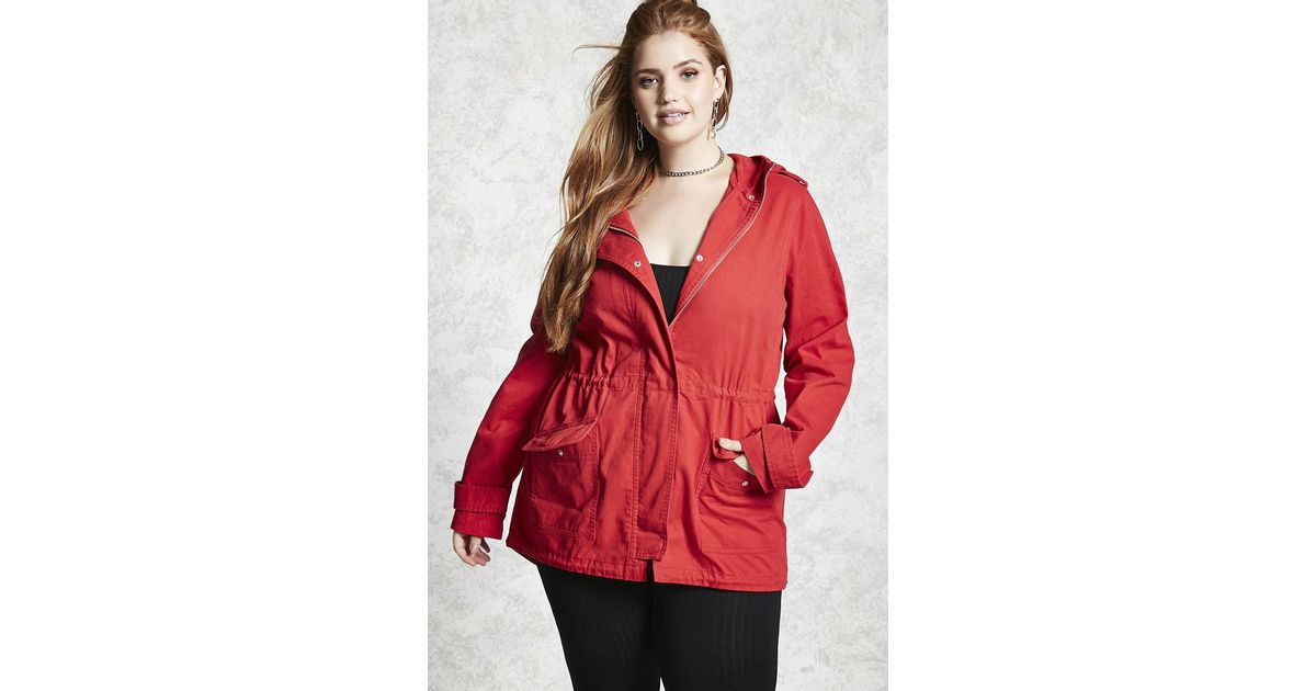 f4a1b20cf75 Lyst - Forever 21 Plus Size Hooded Utility Jacket in Red