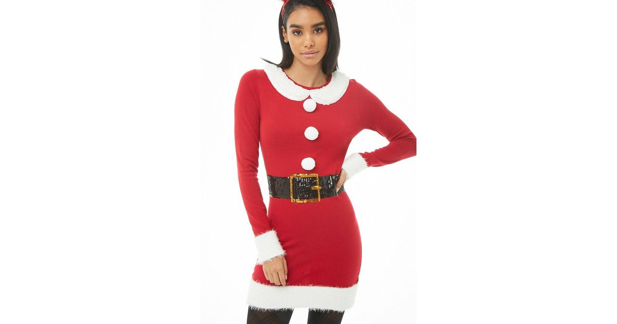 455ae346f2d Forever 21 Christmas-inspired Sweater Dress in Red - Lyst