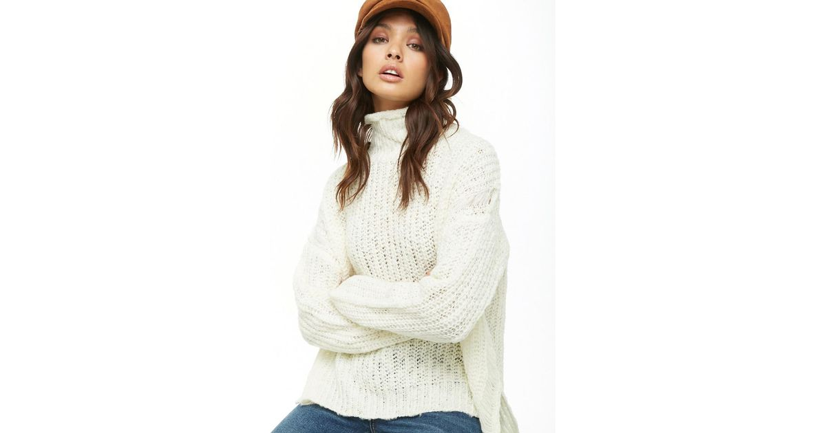 42cc11a2aafc Lyst - Forever 21 Chunky Knit Turtleneck Sweater in White