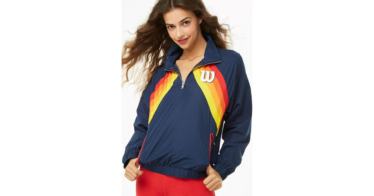 size 40 ccc83 a156a Forever 21 Wilson Striped-front Logo Windbreaker in Blue - Lyst