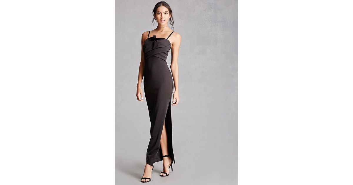 Lyst - Forever 21 Satin Wrapped Bodice Gown in Black