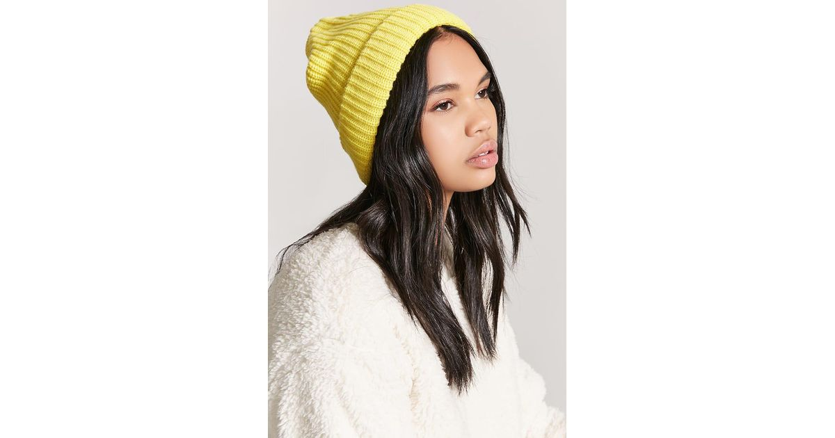 Lyst - Forever 21 Ribbed Knit Beanie in Yellow a29c47dff39