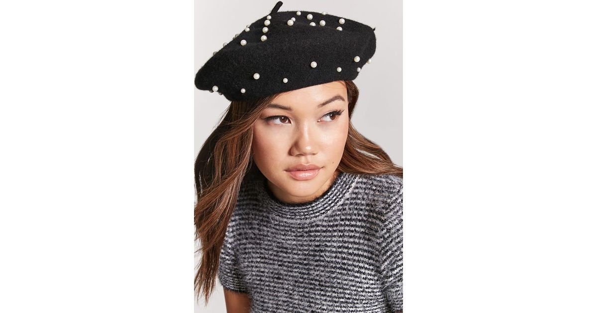 4b4260445a18f Forever 21 Faux Pearl Wool Beret in Black - Lyst