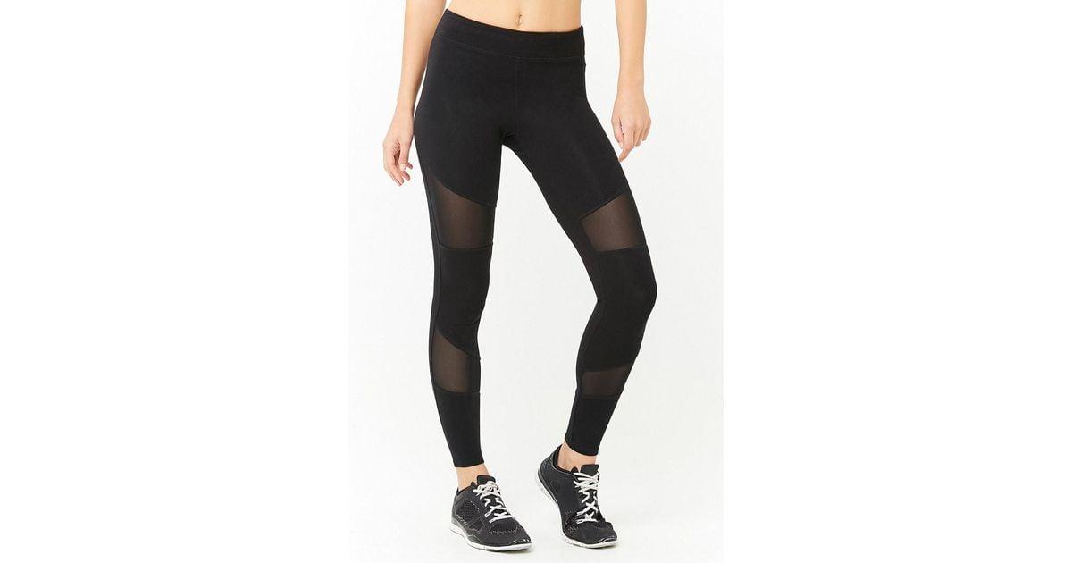 8241f39337a802 Forever 21 Active Mesh Panel Leggings in Black - Lyst
