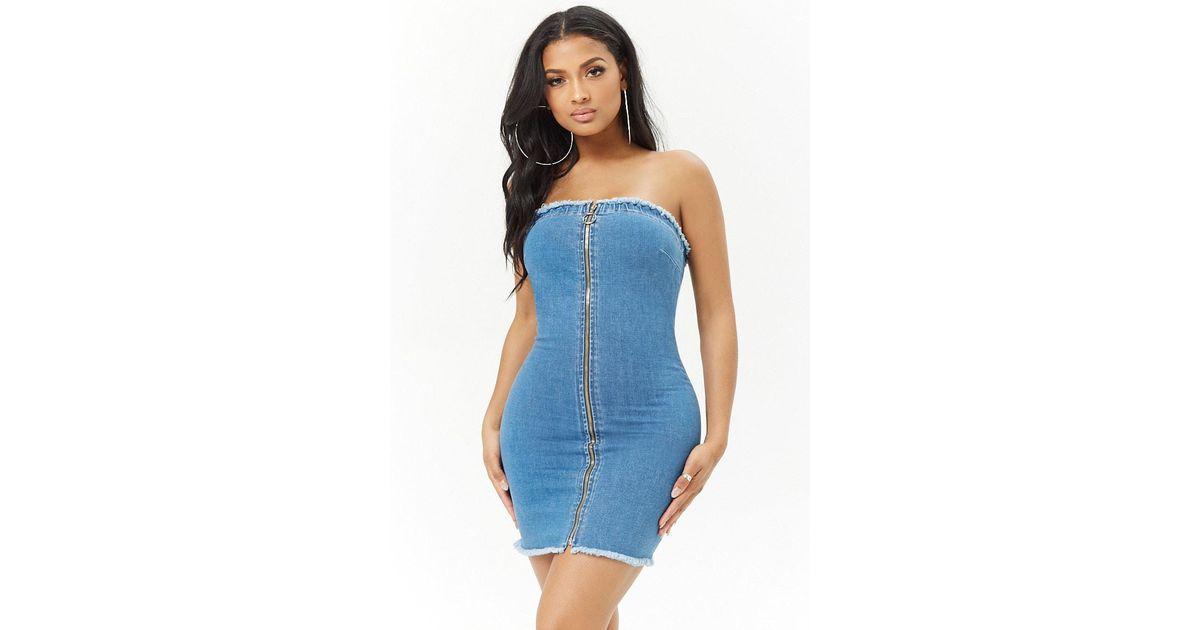 d74fec0ca9 Forever 21 Zip-up Tube Denim Mini Dress in Blue - Lyst