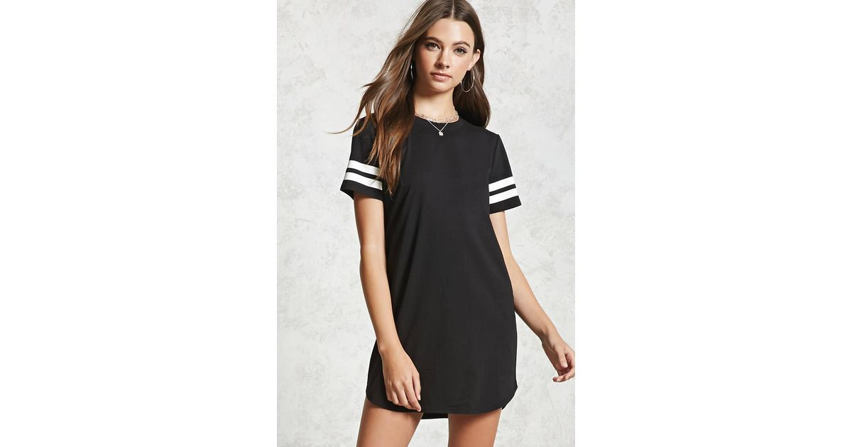 57a3f824f4644 Forever 21 Varsity Striped T-shirt Dress in Black - Lyst