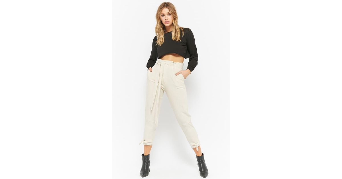 915228c4d0 Forever 21 Linen-blend Paperbag Trousers in Natural - Lyst