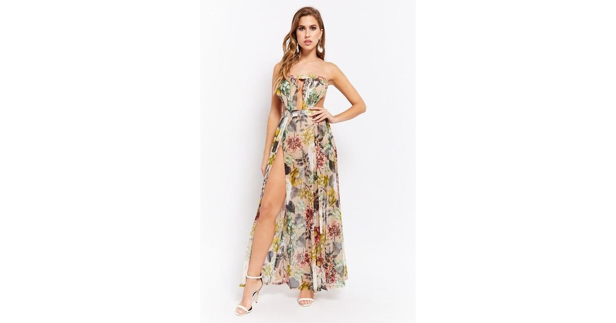 347a4ce16a Forever 21 Women s Strapless Sheer Floral Maxi Dress - Lyst