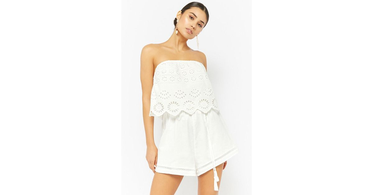 a52b08a93e71 Lyst - Forever 21 Strapless Flounce Romper in White